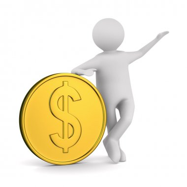 Man with money on white background. Isolated 3D image