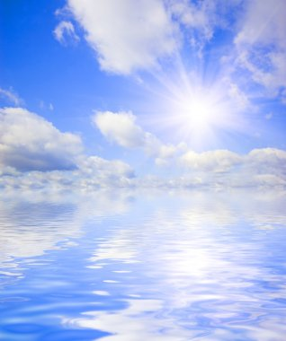 Beautiful summer sky with water reflection