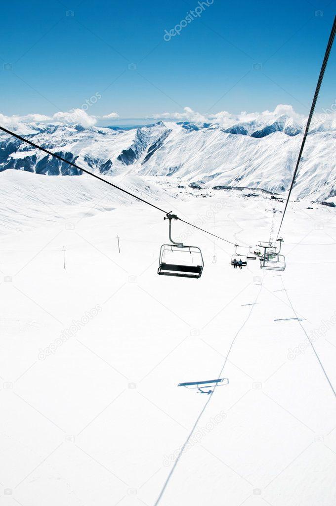 Ski Lift Chairs On Bright Winter Day U2014 Stock Photo