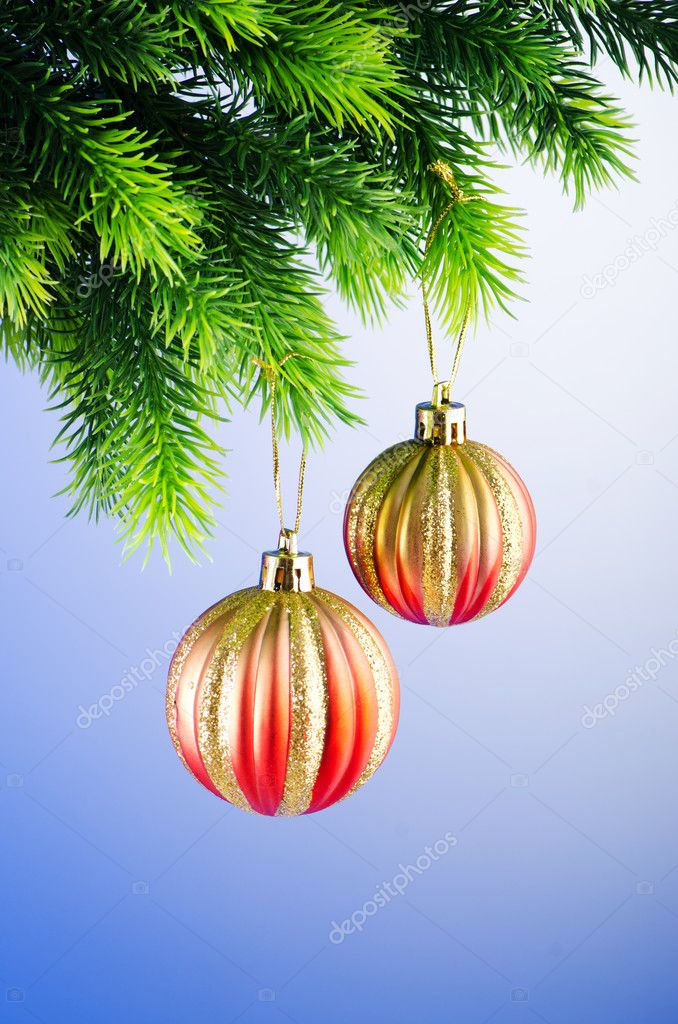 Baubles On Christmas Tree In Celebration Concept U2014 Photo By Elnur_