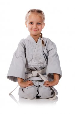 Girl - karateka in kimono