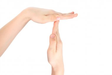 Hands represents letter T from alphabet
