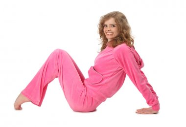 Girl in pink clothes represents letter m