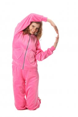 Girl in pink clothes represents letter p