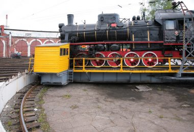 Steam locomotive in museum by side