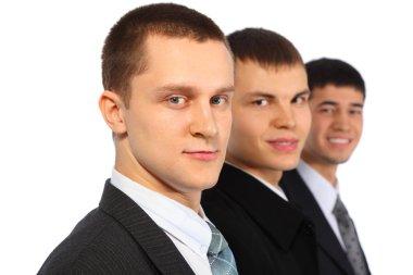 Three businessmen, parody to Marx, Engels and Lenin
