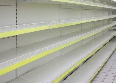 Empty shelves in shop