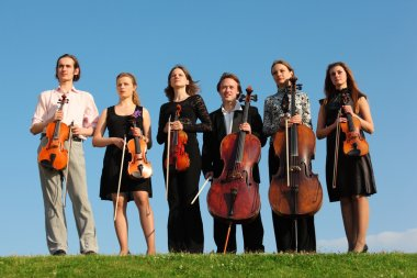 Six violinists stand on grass against sky