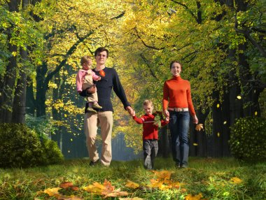 Walking family with two children in autumnal park collage