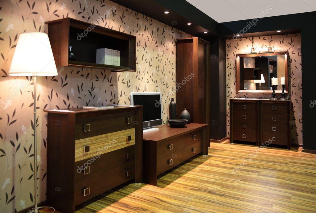 Wooden brown Room interior