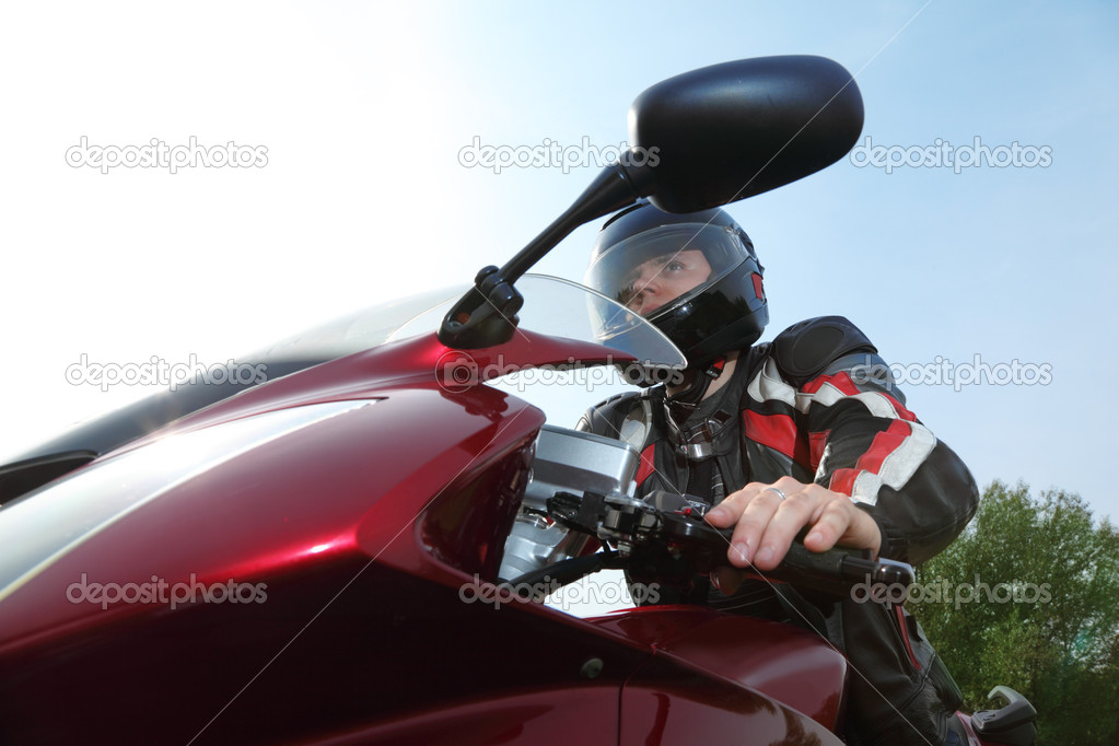 Biker on bike, bottom view