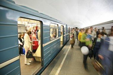 In subway near train