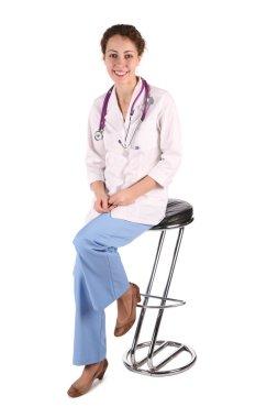 Doktor woman sit on the bar stool