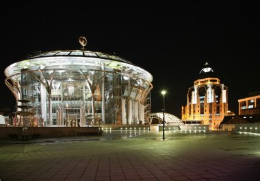 Moscow house of music and business center at the night