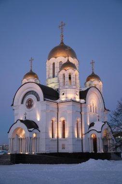 Orthodox church at night in winter