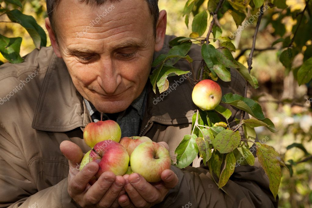 Thoughtful middleaged man with apples