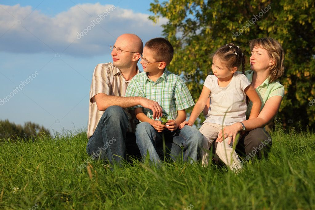 Family in early fall park