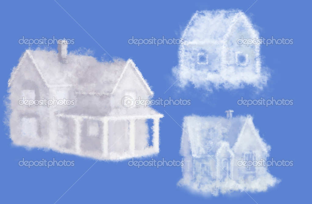 Three cloud dream houses collage