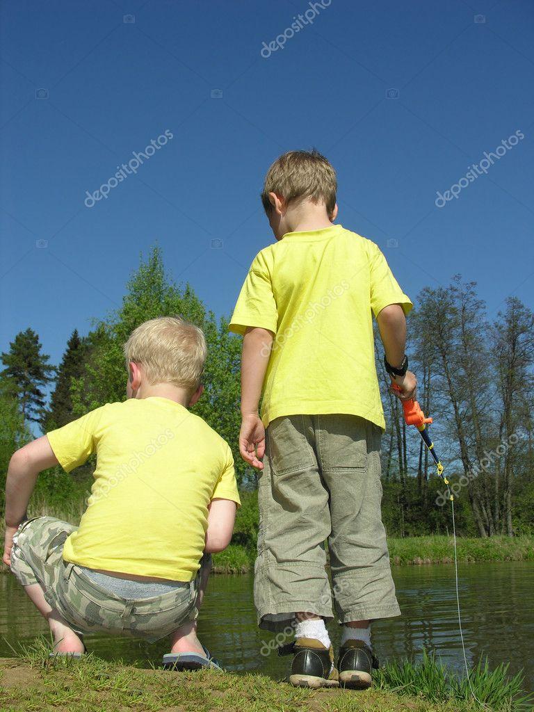 Children on pond
