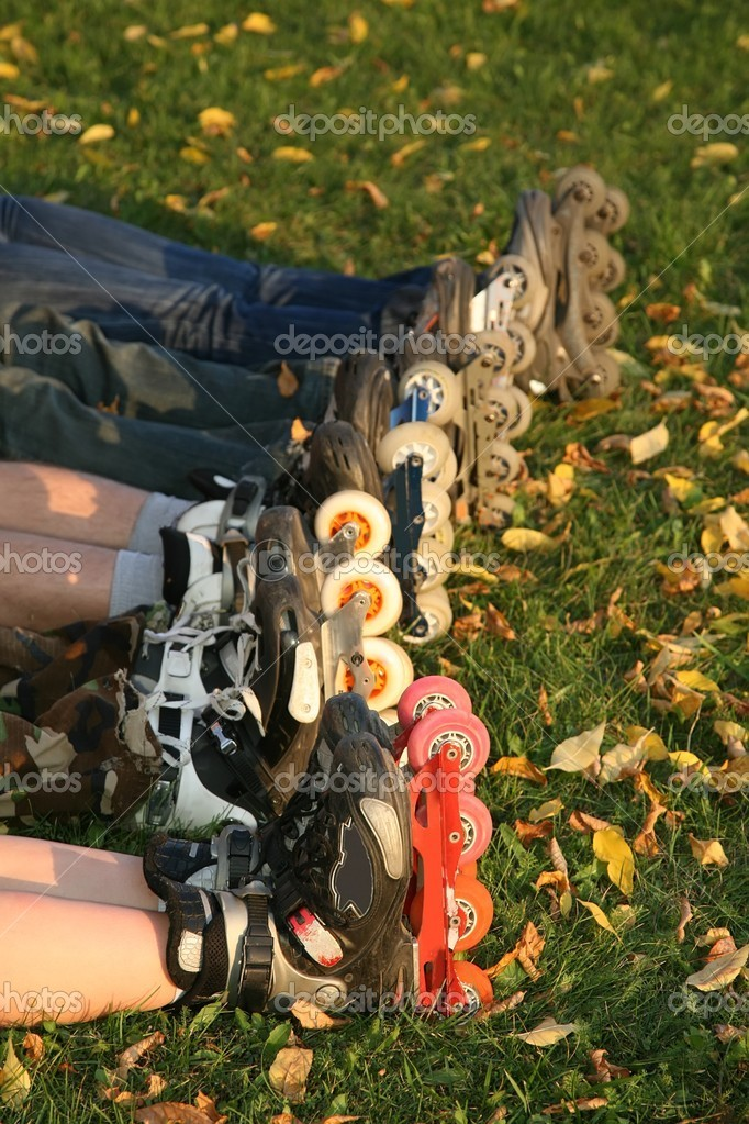Row of roller legs on the grass