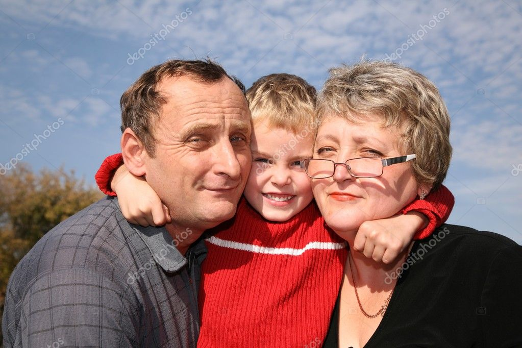 Grandmother and grandfather with the grandson