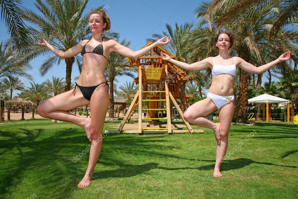 Tropical yoga girls