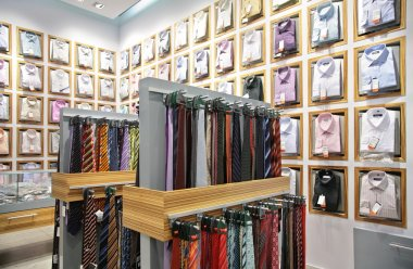Shirts and neckties in shop