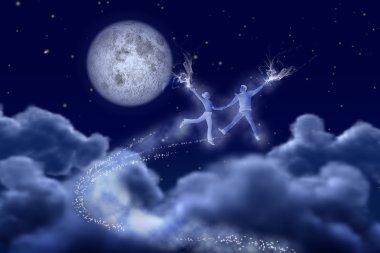 Dancing pair in the moonlight