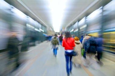 on metro station