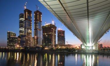 Skyscraper bridge sunset
