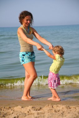 Mother with little girl on beach