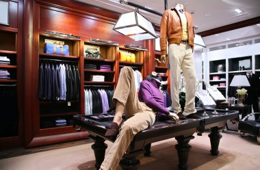 Mannequins on table in shop