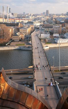 View from top on footbridge across Moscow-river