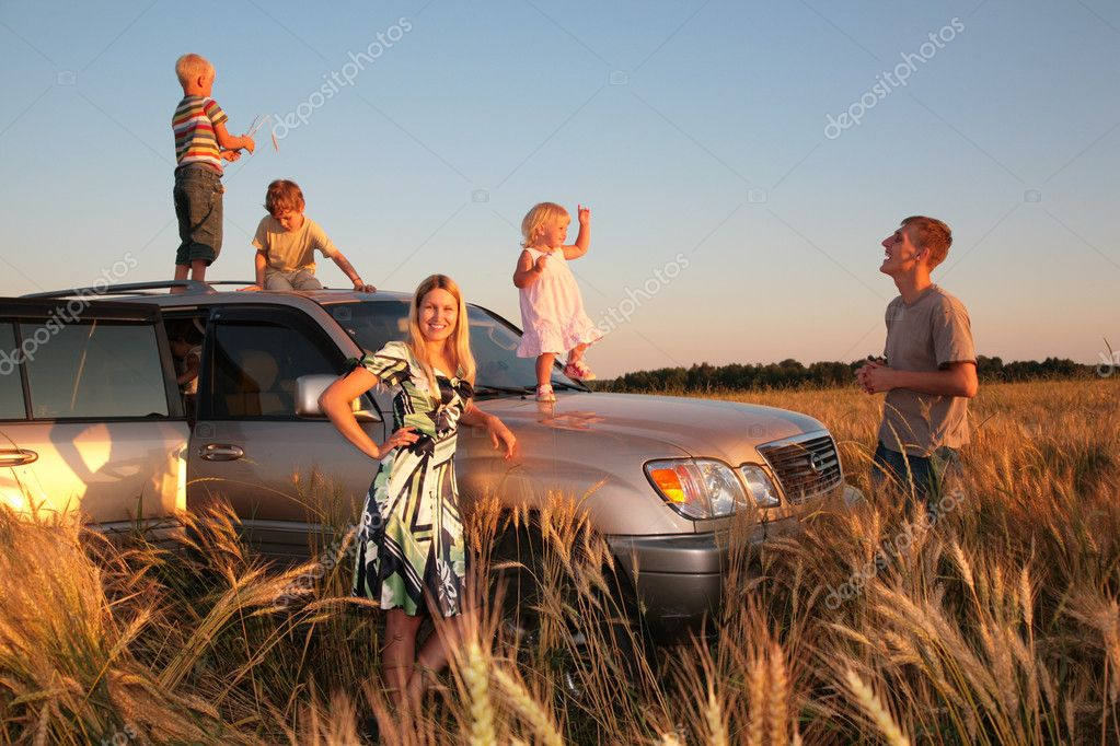 Family on offroad car