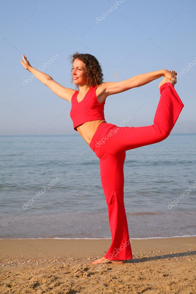 Fitness woman on beach