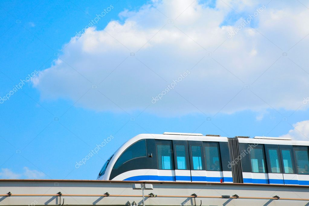Bus on sky background