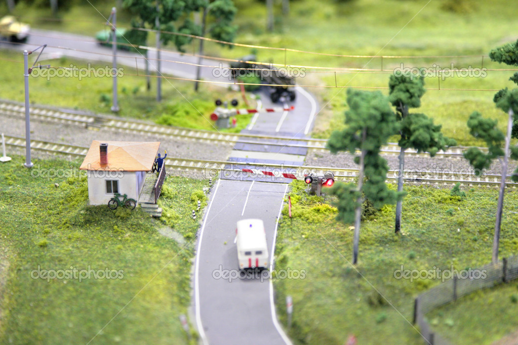 Railway crossing miniature