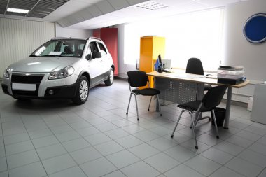 Consultation chamber for automobile buyers, hall with table, cha