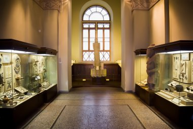 Museum exhibits of ancient relics in glass cases, big window in
