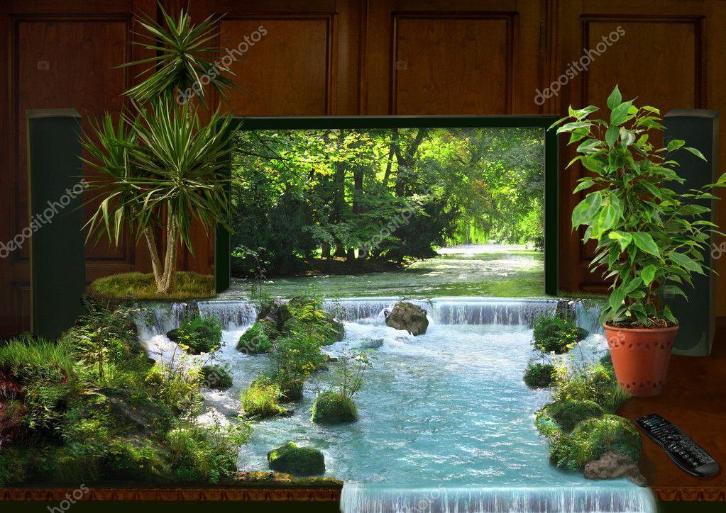 TV-Interieur und Wasserfall-collage — Stockfoto © Paha_L #7935990