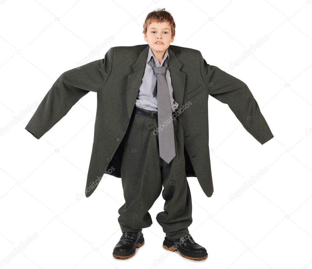 new product fdaab 00a08 Kleine Junge in der große graue Mann der Anzug und Stiefel ...