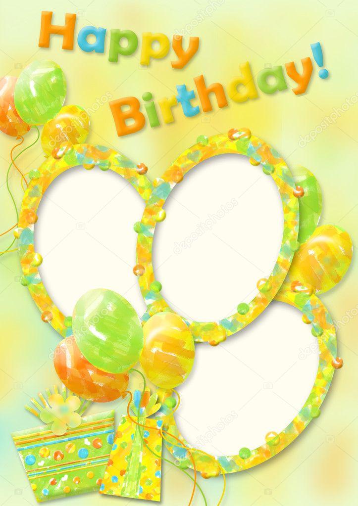 Birthday Card With Photo Frame Stock Photo Chiffa 7184341