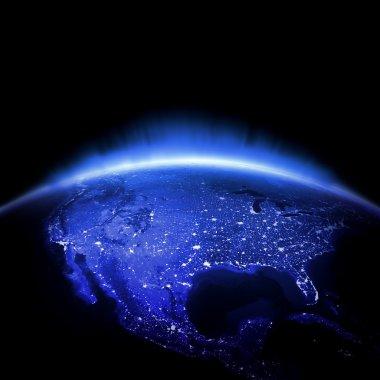 USA. Earth lights 3d render, maps courtesy of NASA stock vector