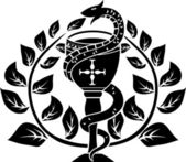 Snake on a bowl with laurel wreath