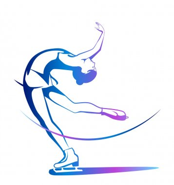 Winter sport. Ladies figure skating. Ice show. stock vector
