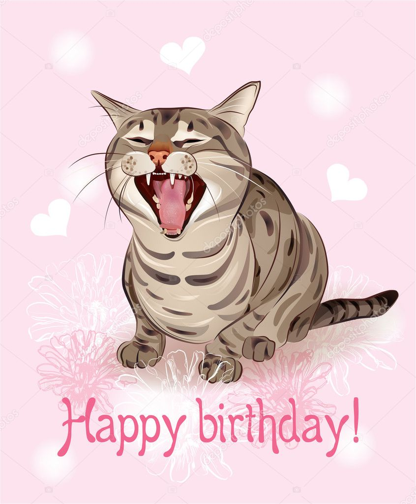 Happy Birthday Cat We Heart It: Happy Birthday Card. Funny Cat Sings Greeting Song. Pink