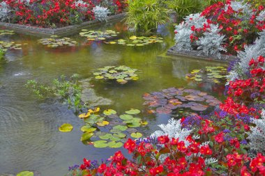 Pond and flower bed.