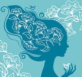 Fényképek Gyönyörű nő sziluett, a virágok és a madarak