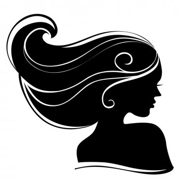 Beautiful woman silhouette clip art vector