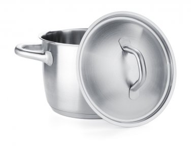 Opened stainless steel pot